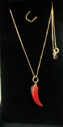 colar veneziana com pingente pimenta ouro 18k gabyjoias