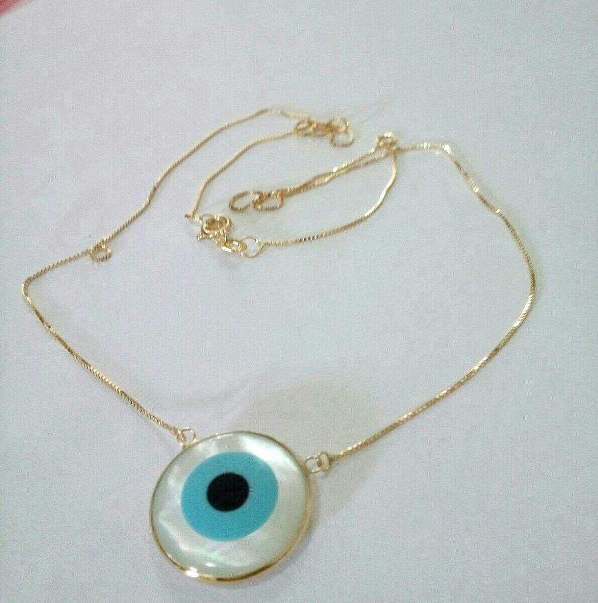 colar veneziana ouro 18k com olho grego em madrepérola. Carregando zoom. e59de4e4f9