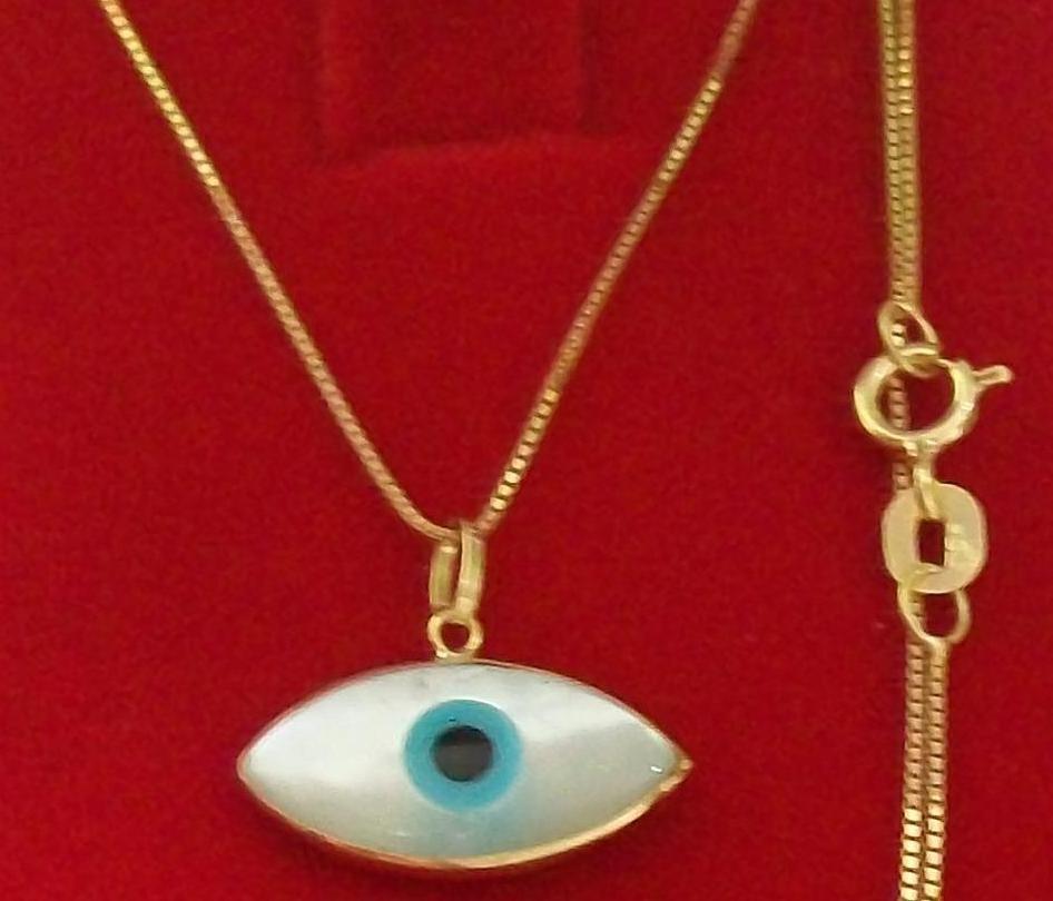 911d5c6e28993 colar veneziana ouro 18k + pingente olho grego madrepérola. Carregando zoom.
