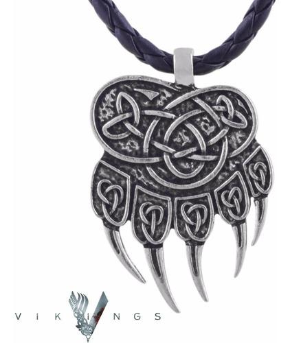 colar vikings viking pata urso garras dupla face