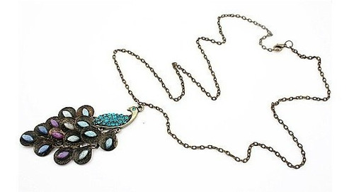 colar vintage articulado c/strass lantejoulas bronze