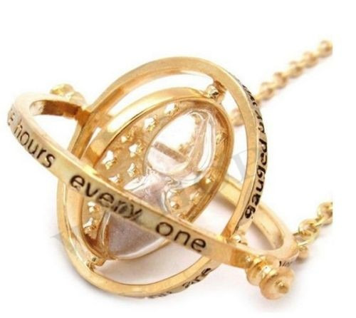 colar vira tempo hermione - banhado a ouro 18 k harry potter