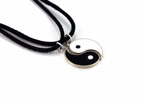 colar yin yang best friends amizade branco preto
