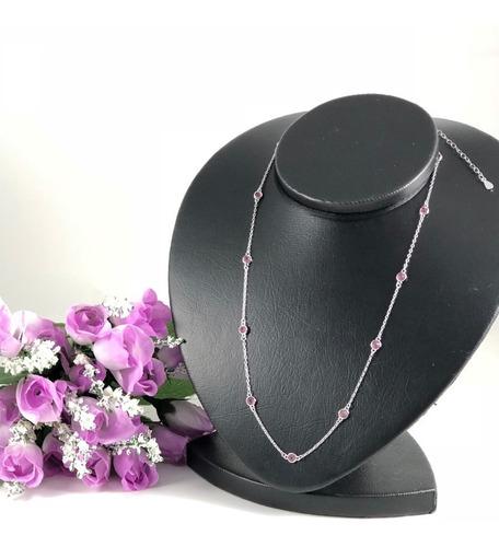 colar  zirconia rosa  prata maciça 925 50 cm c/ ródio