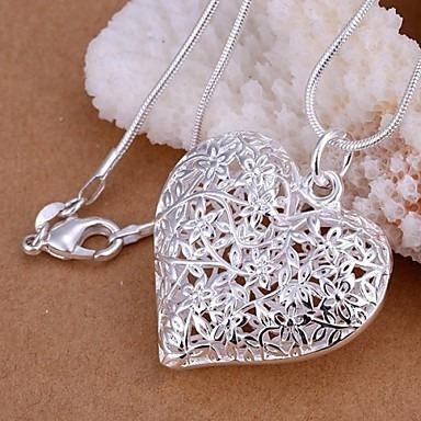 colares com pendentes de coração, prata colar para festa