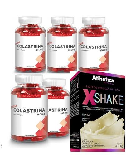 colastrina original 5 potes 60 caps + shake gratis