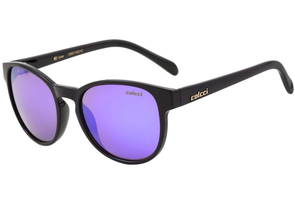 978f97e6b9402 colcci june - óculos de sol preto brilho  roxo espelhado. Carregando zoom.