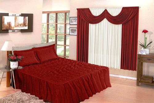 colcha casal padrão bordada matelada + cortina