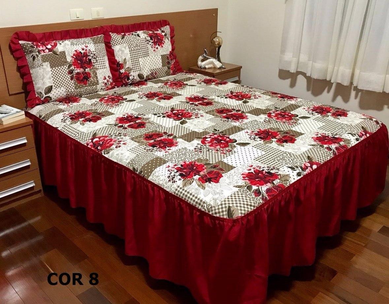 Colcha casal pratica para uso diario com babado r 59 90 for Colchas para camas grandes