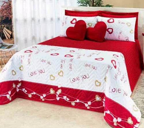 colcha casal queen 7 pçs vermelho love you coração pág: 17