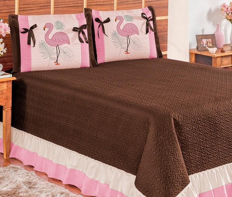 8c4815d2d Colcha Casal Queen Flamingo 3 Peças Preço Especial - R  119