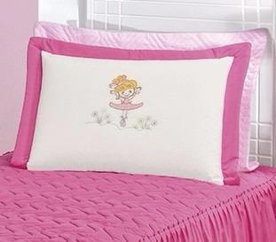 colcha de solteiro bailarina com 3 peças pink