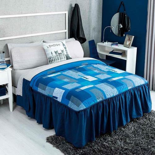 colcha individual recife azul 2 vistas vianney envio gratis