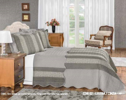 colcha king patchwork + 2 portas travesseiro percal 180 fios