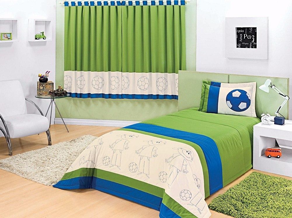 65e59c9d8d Colcha Masculina Solteiro Azul C  Verde + Cortina 2