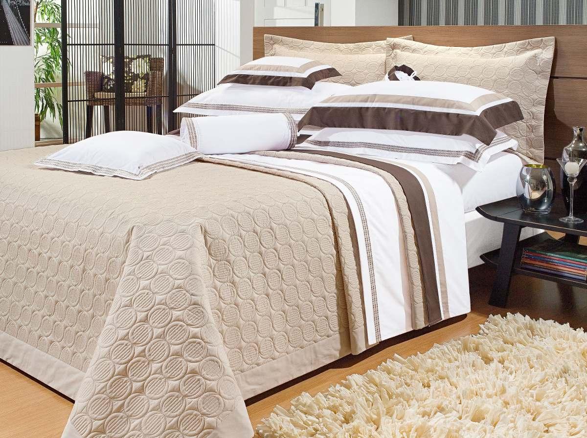 Colcha p cama superking bordado bege palha creme marfim - Imagenes de colchas para camas ...