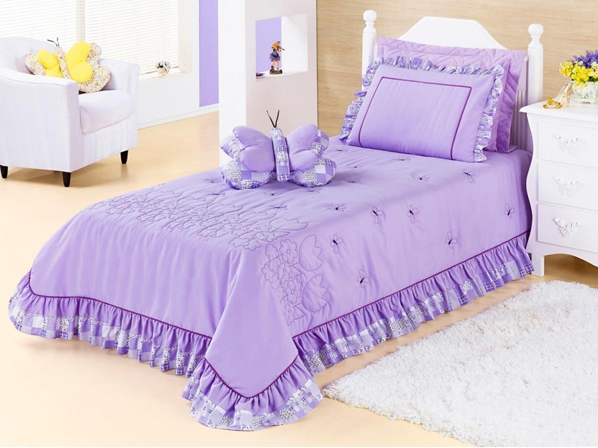 c8e629996a colcha para cama solteiro feminina jardine 3 peças lilás. Carregando zoom.