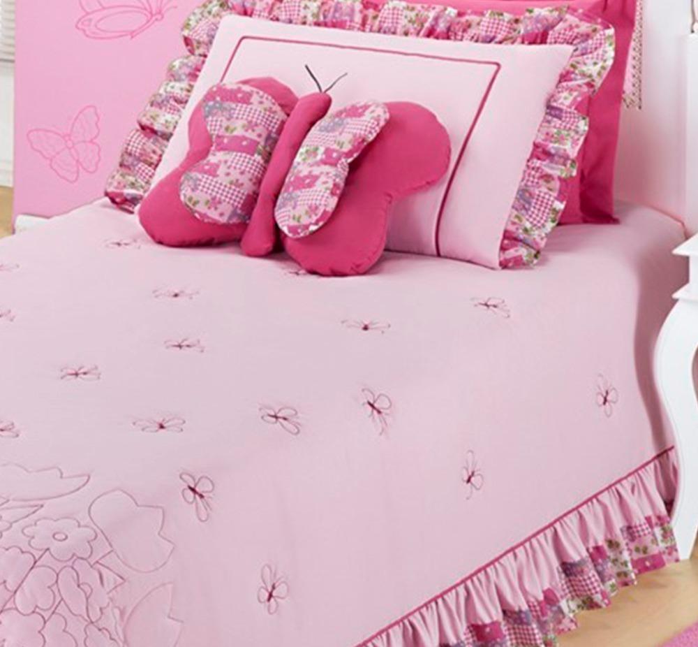 3094ffadb6 colcha para cama solteiro feminina jardine 3 peças rosa. Carregando zoom.