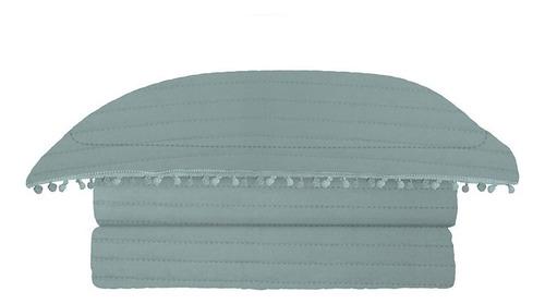 colcha pompom casal 220x240cm microfibra azul 3 pçs - camesa