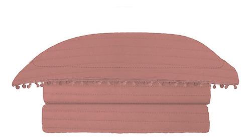 colcha pompom queen 240x260cm microfibra rose 3 pçs - camesa