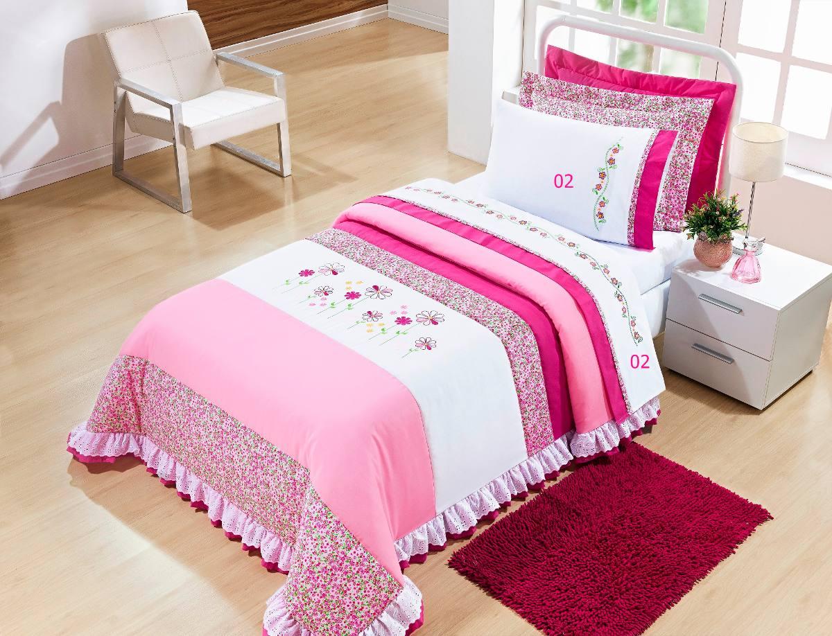 28cd15dd91 colcha solteiro menina 3 peças + jogo de cama 100% algodão. Carregando zoom.