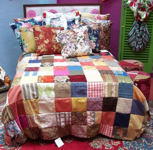 colcha solteiro patchwork retalhos de tapeçaria nobre -varal