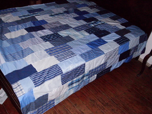 colcha  st 38 - solteiro - azul e branco 1,90 x 2,10