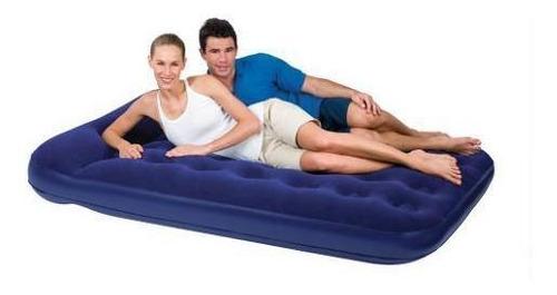 colchão casal inflável azul com bomba - bestway