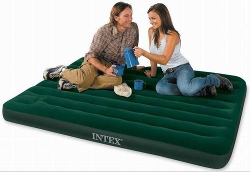 colchão inflável de casal intex verde com bomba 272kg