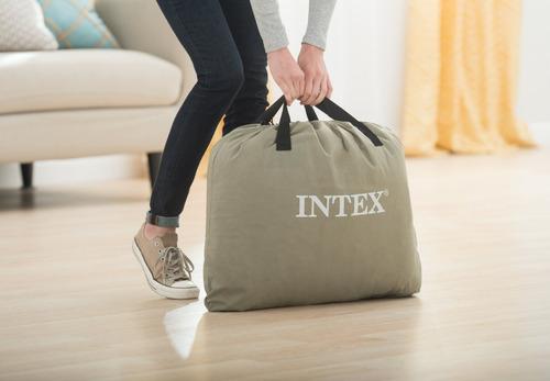 colchão inflável elevado intex comfort plush queen 110v