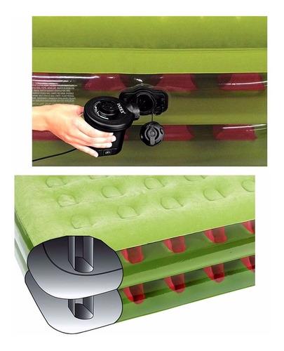 colchão inflável solteiro verde com bomba 220v 136kg intex