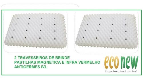 colchão magnético casal bio massageador + cama box cabeceira