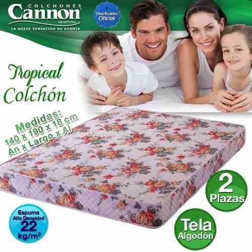 colchon 2 plazas cannon 140x190 cm tropical caba gratis