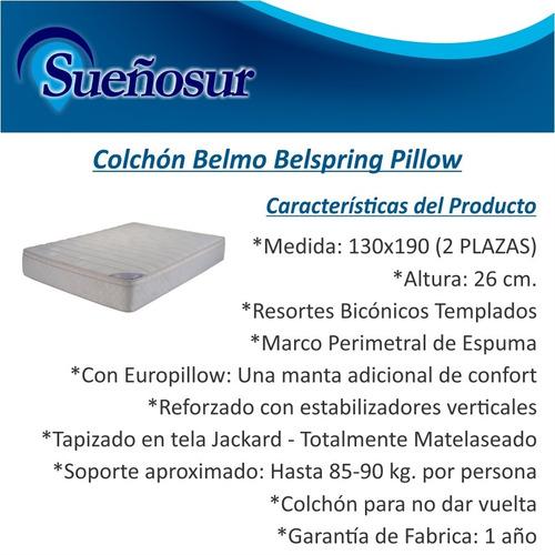 colchon 2 plazas resortes belmo belspring pillow 130x190x26