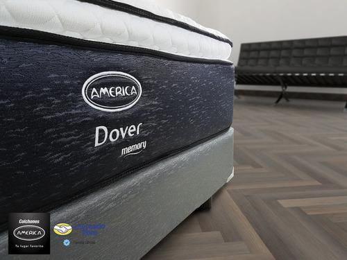colchón américa + box king size  dover con memory foam y gel