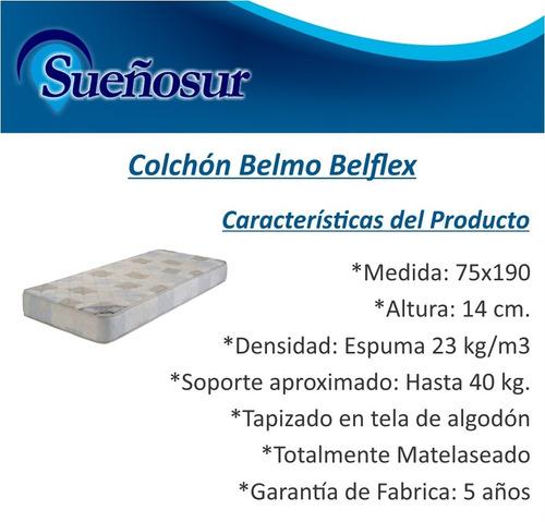 colchon belmo belflex 1 plaza 75x190x14 - 23 kg/m3