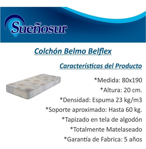 colchon belmo belflex 1 plaza 80x190x20 - 23 kg/m3