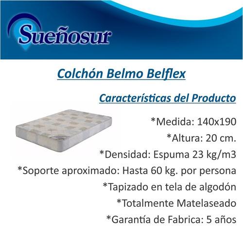 colchon belmo belflex 2 plazas 140x190x20 - 23 kg/m3
