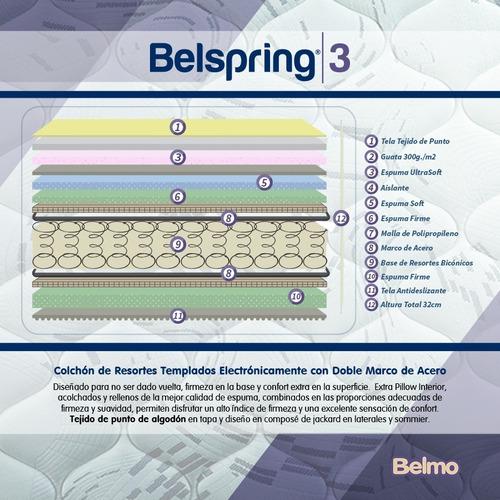 colchón belmo belspring 3 2 plazas 190x150