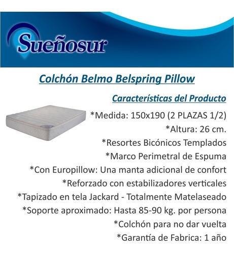 colchon belmo belspring pillow resortes 2 plazas 1/2 150x190