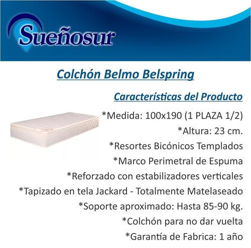 colchon belmo belspring resortes 1 plaza 1/2 100x190x23