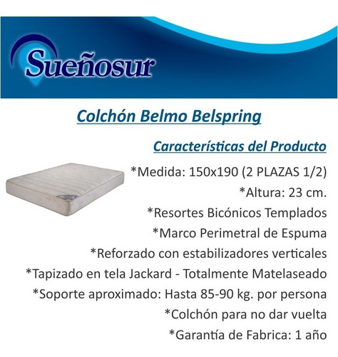 colchon belmo belspring resortes 2 plazas 1/2 150x190