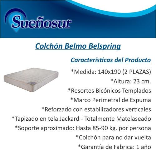colchon belmo belspring resortes 2 plazas 140x190x23