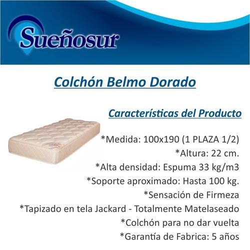 colchon belmo dorado 1 plaza 1/2 100x190x22 - 33 kg/m3