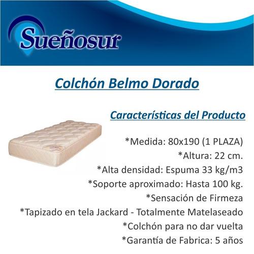 colchon belmo dorado 1 plaza 80x190x22 - 33 kg/m3
