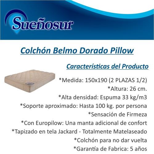 colchon belmo dorado pillow 2 plazas 1/2 150x190 - 33 kg/m3