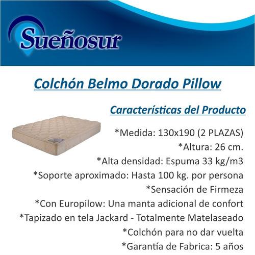 colchon belmo dorado pillow 2 plazas 130x190x26 - 33 kg/m3