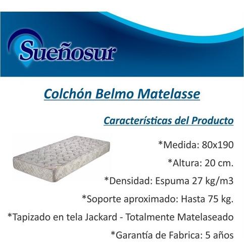 colchon belmo matelasse 1 plaza  80x190x20 - 27 kg/m3