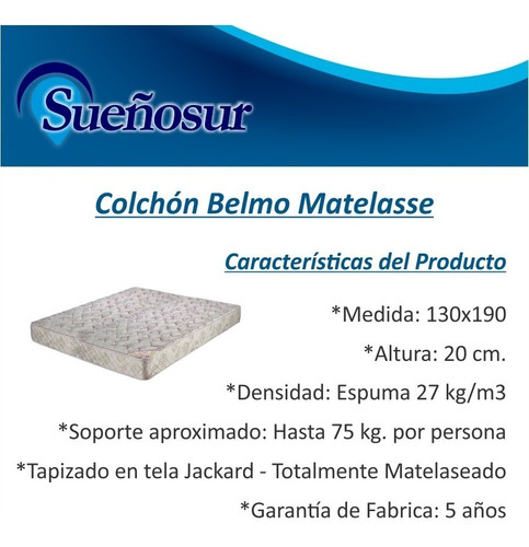 colchon belmo matelasse 2 plazas 130x190x20 - 27 kg/m3