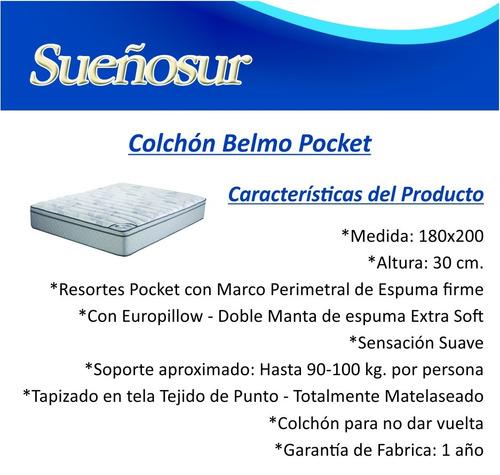 colchon belmo pocket resortes king size 180x200x30